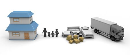 Moving Home purchase New Residence 3D illustration 写真素材