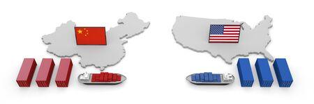 America China Trade Problem Tariff 3D illustration 写真素材