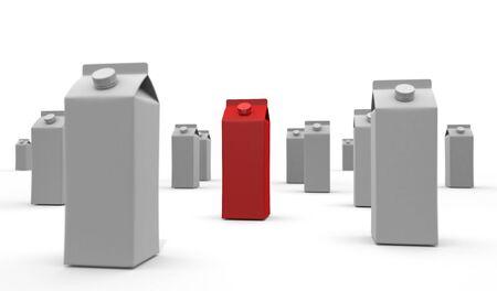 Red Milk Carton 3D illustration