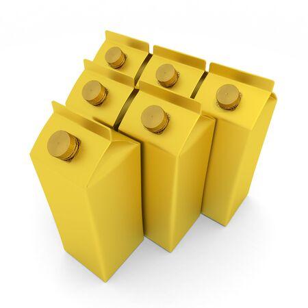Gold Milk Carton 3D illustration 写真素材