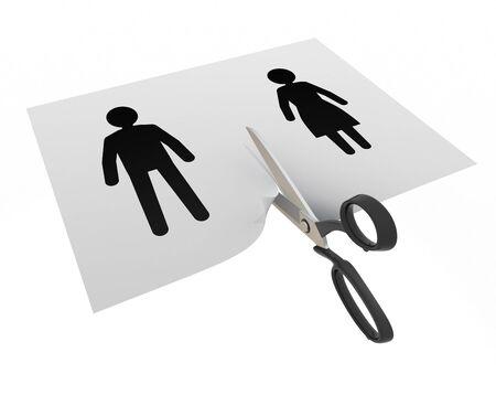 Men and women break up 3D illustration
