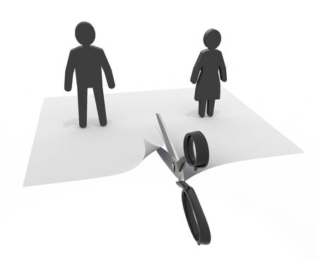 Couple who breaks a relationship 3D illustration