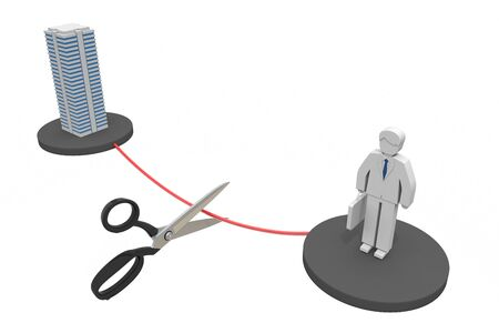 Cut employment Contract cancellation 3D illustration