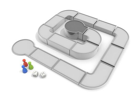 Play a board game. Competition with others. 3D illustration