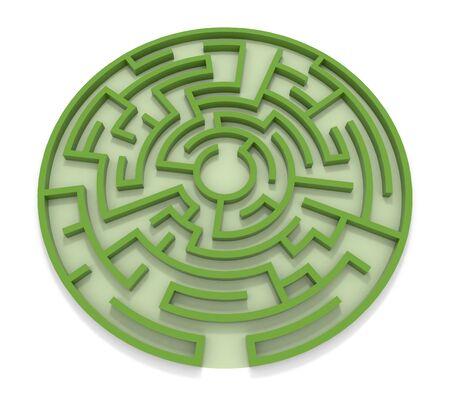 Round Maze. Green wall. 3D rendering. 写真素材