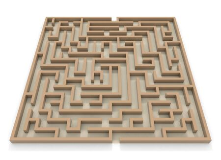 Square Maze. Huge Maze. 3D rendering.