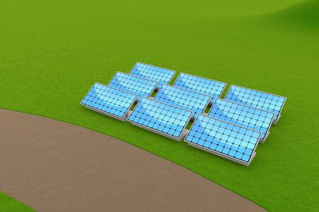 Installed solar panels. Generate Electricity by Receiving Sunlight. 3D illustration 写真素材