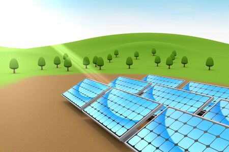 Installed solar panels. Nature and blue sky. 3D illustration 写真素材