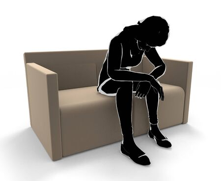 A depressed woman. A person sitting on a sofa. 3D illustration