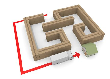 Detour and Deliver. Avoid difficulties. 3D illustration
