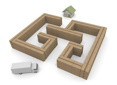 Deliver in the Maze. Deliver the luggage to the house. 3D illustration