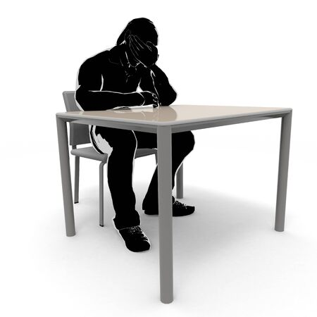 A depressed man. A-worried person. Thinking person. 3D illustration