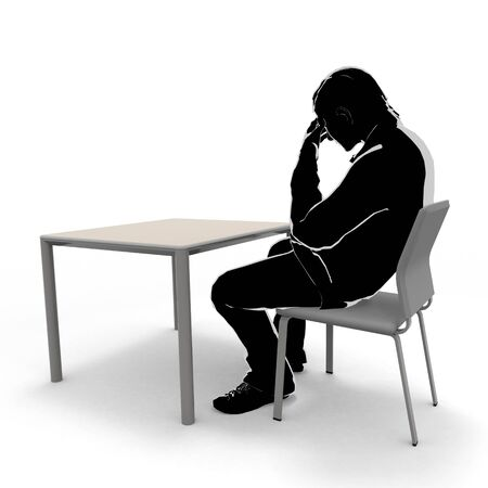 Thinking man. A person sitting on a chair. A man who is not well. 3D illustration 写真素材