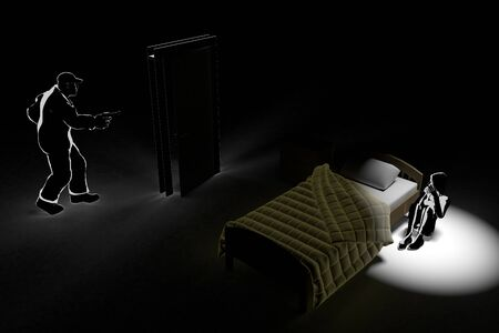 Robbery enters at midnight. A-scared woman. Call the Police. 3D illustration
