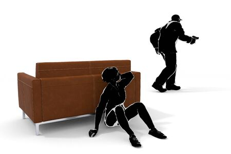 Robbery enters. A Woman Hiding on the Sofa. Call the Police. 3D illustration