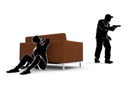 Robber with a.l.E. A Woman Who Hides. Call the Police. 3D illustration