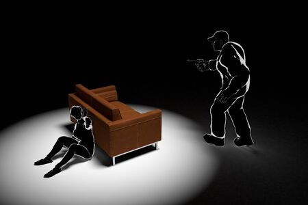 Robbery enters the house. A-scared woman. Call the Police. 3D illustration
