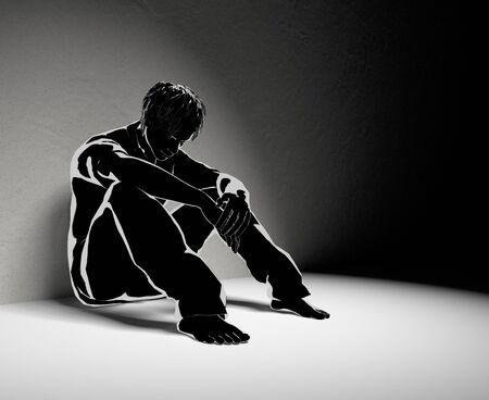 Lonely man. No One Helps. Worry Alone. 3D illustration 写真素材