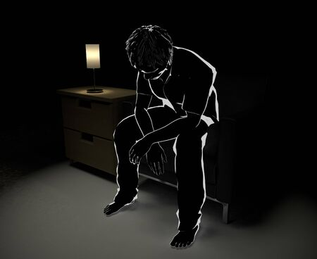 Sitting on the Sofa and Thinking. Alone in the Middle of the Night. Someone Who Is Worried. 3D illustration