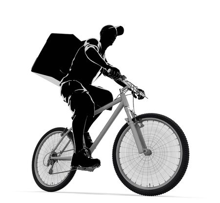 A man delivering food. A person delivering by bicycle. 3D illustration 写真素材