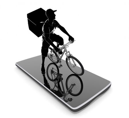 Work using a smartphone. A man delivering food. 3D illustration 写真素材