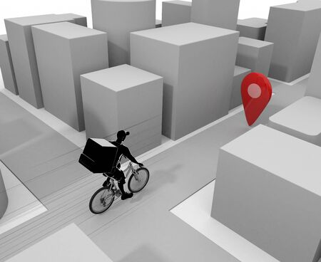 A man delivering in the business district. Deliver food by bicycle. 3D illustration 写真素材
