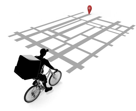 Look at the map app and deliver. A person who delivers food by bicycle. 3D illustration