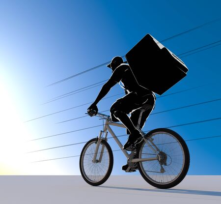 The Person Delivering the Food. A man delivering by bicycle. 3D illustration