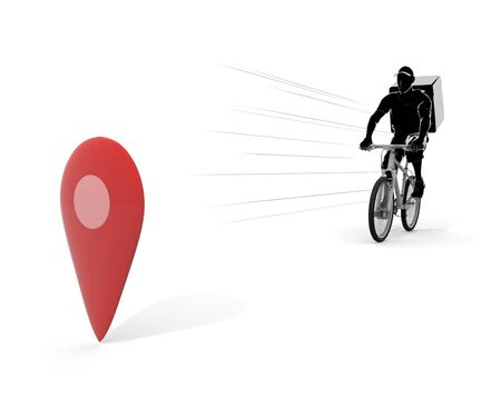 Check the delivery point. A man who delivers food by bicycle. 3D illustration