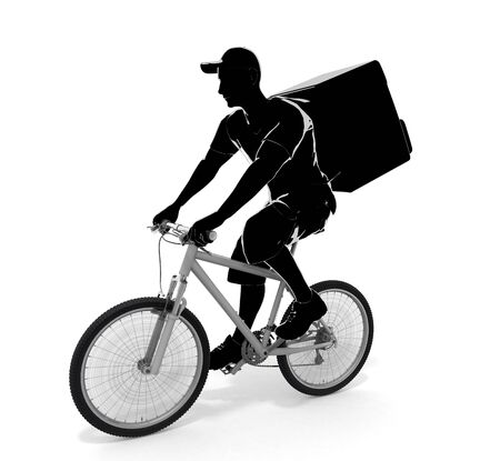 A person delivering by bicycle. A man delivering food. 3D illustration
