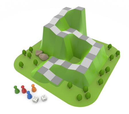 Play with board games. Play the Game with 4 Players. 3D illustration