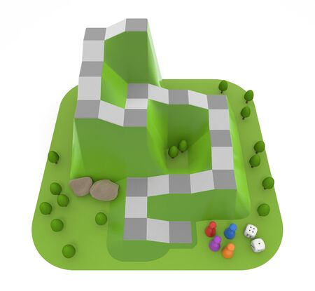 Board Game Inspired by Mountains. A three-dimensional dice game. 3D illustration 写真素材