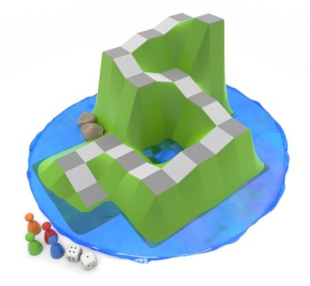 A board game surrounded by water. 4 pieces and 2 dice. 3D illustration