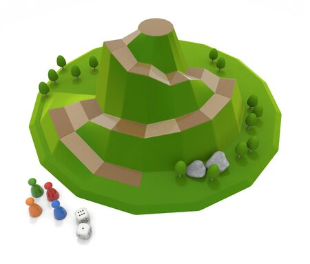 A board game inspired by nature. Play with 4 players. 3D illustration