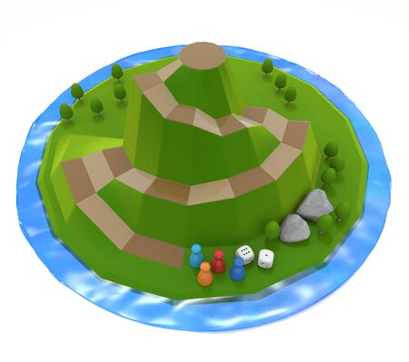 Mountain Surrounded by Lake. A three-dimensional board game. Nature image. 3D illustration