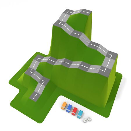 3D illustration. Car board game. Car Pieces and Dice. 写真素材