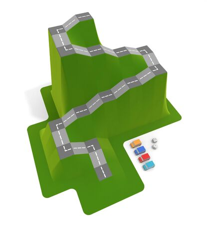 3D illustration. Driving school board game. A dice game inspired by mountains. 写真素材