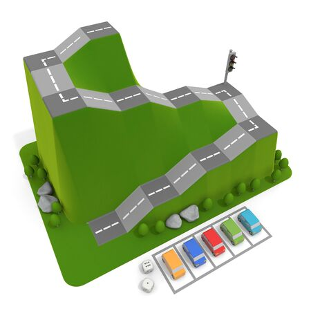 3D illustration. Driving school and 5 cars. Car board game.