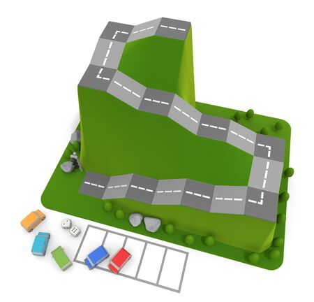 3D illustration. Car board game. Driving school dice game.