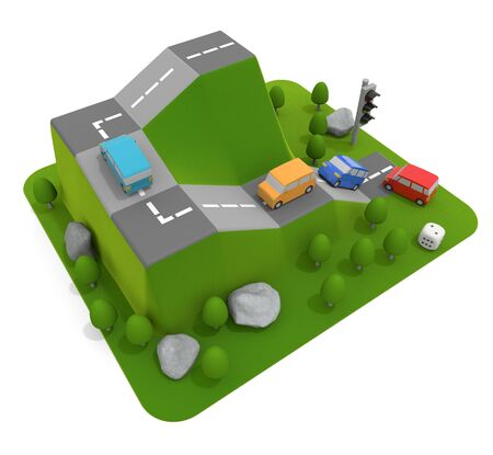 3D illustration. A car climbs the mountain. Car board game.