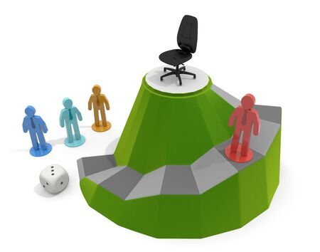 3D illustration. Business competition game. A dice game aimed at the present.