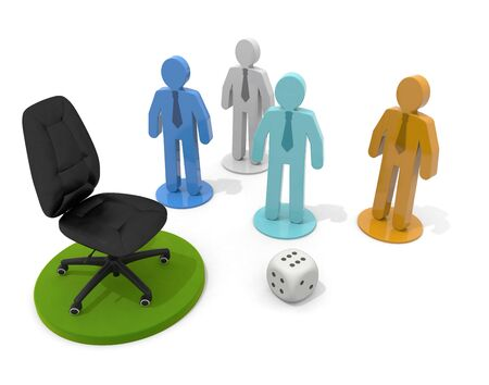 3D illustration. Aim for the top chair. Businessman Pieces and Dice.