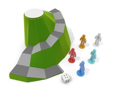 3D illustration. Businessman dice game. A board game set in nature.