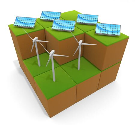 3D illustration. Natural energy. Solar panels and wind power.