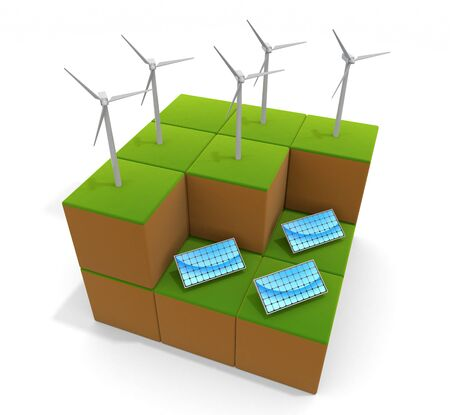 3D illustration. Power is generated by wind power. Solar energy. Image of natural environment. 写真素材