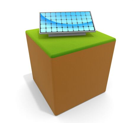 3D illustration. Icon image of solar panel. Store energy with the power of nature. 写真素材