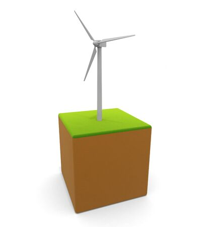 3D illustration. Wind Turbine icon. Power is generated by wind power. Natural energy. 写真素材