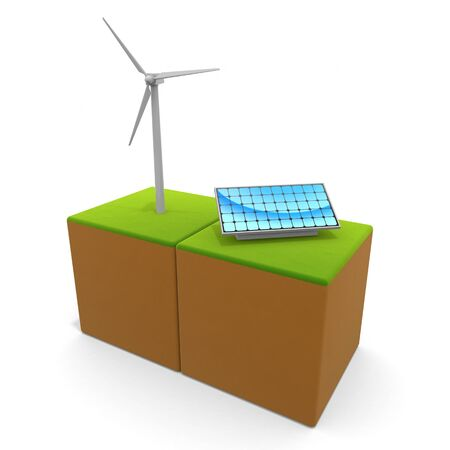 3D illustration. Wind power and solar panels. Think about the natural environment. Eco system.
