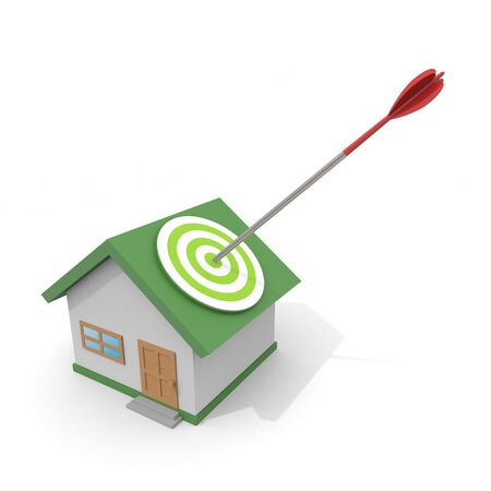 3D illustration. Hit the House with an Arrow. Find a good property.