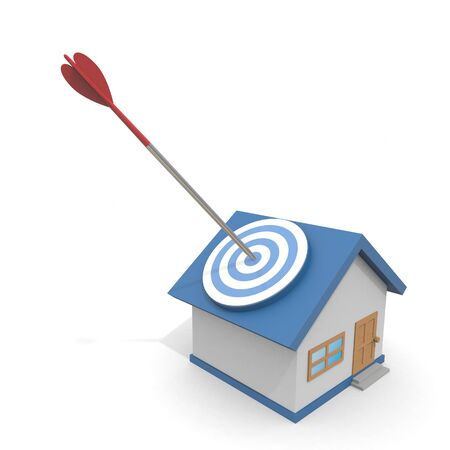 3D illustration. Hit the target house with an arrow. Find a property. 写真素材